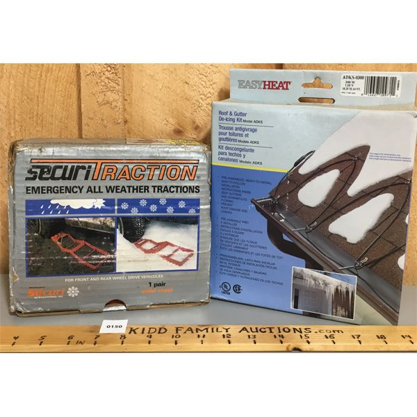 LOT OF 2 - ROOF DE-ICER & EMERG ALL WEATHER TRACTION SET