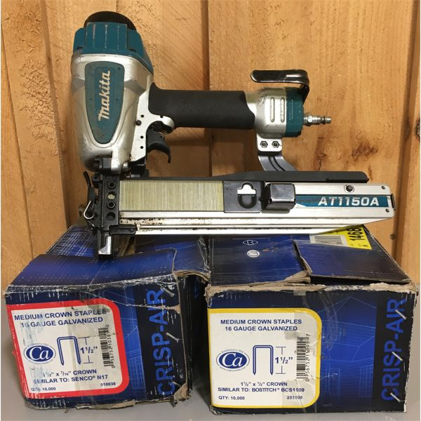 MAKITA AT7750A AIR STAPLER W/ QTY OF 16 GA 1/2 INCH STAPLES