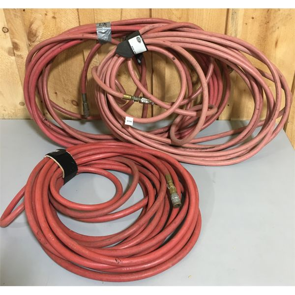 LOT OF 3 - 3/8 INCH 200 PSI AIR HOSE - UNKNOWN LENGTH