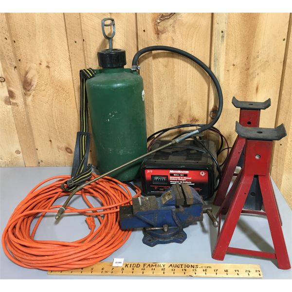 JOB LOT - MOTOMASTER AUTO & MANUAL BATTERY CHARGER, SAFETY STANDS, SPRAYER, EXT CORD, 3 INCH VICE