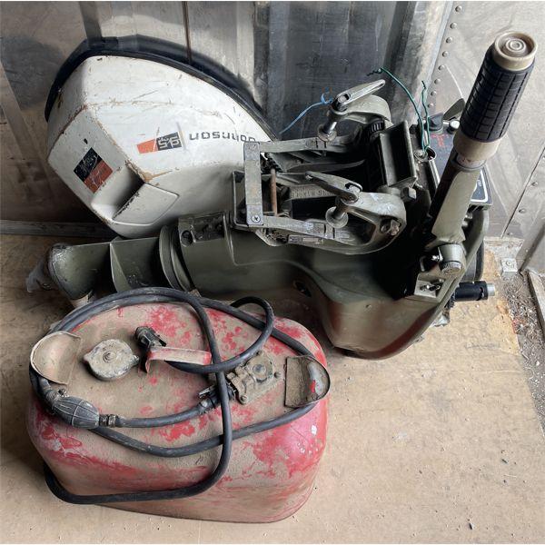 JOHNSON 9.5 HP OUTBOARD MOTOR W/ GAS TANK