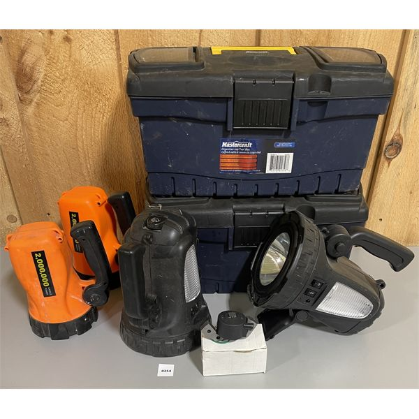 JOB LOT: 2X TOOL BOXES, 4X FLASHLIGHTS & BOAT MOTOR IGNITION COIL