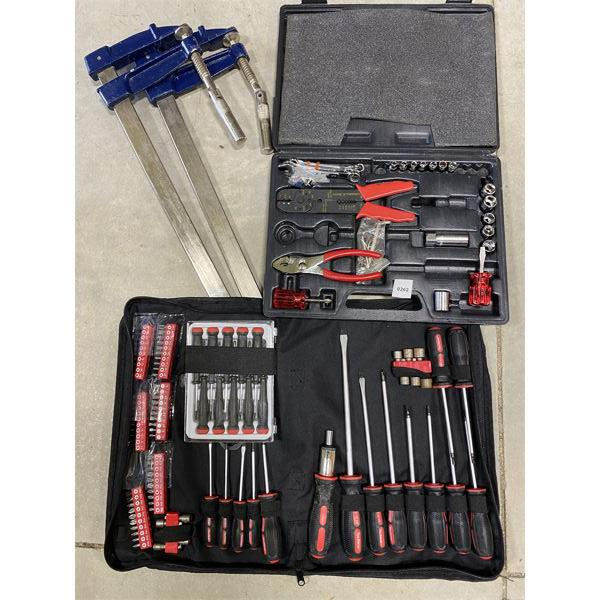 LOT OF 4 - 2 X CLAMPS & SOCKET / DRIVER SETS