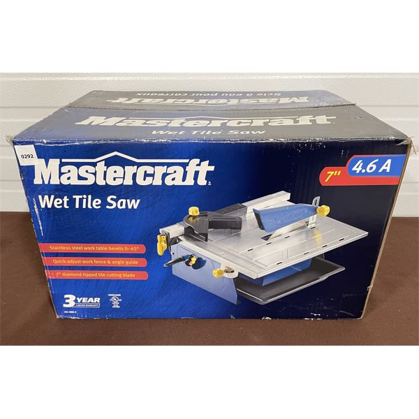 MASTERCRAFT - 7 INCH WET TILE SAW - AS NEW