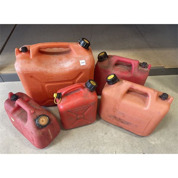 LOT OF 5 - JERRY CANS - MOST HAVE SPOUTS - VARIOUS SIZES