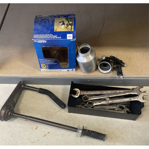 JOB LOT - PAINT SPRAYER, WRENCHES, SHRINK WRAP ROLLER