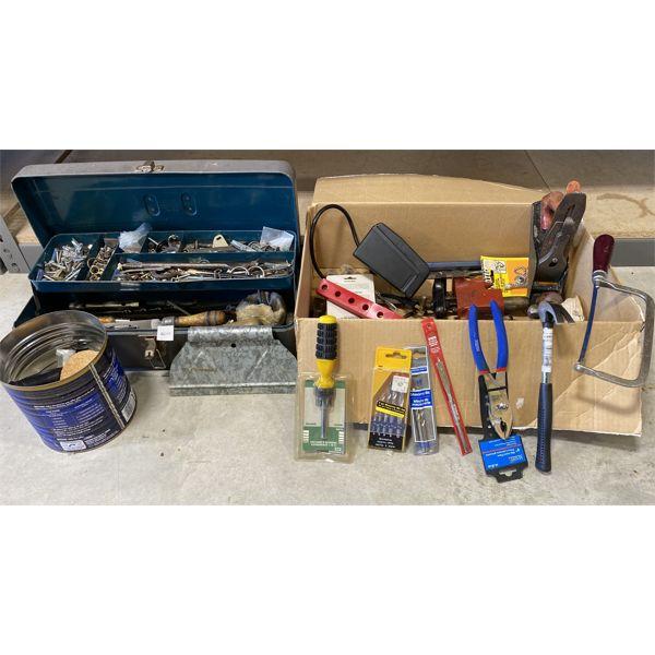 JOB LOT - METAL TOOL BOX W/ MISC HAND TOOLS