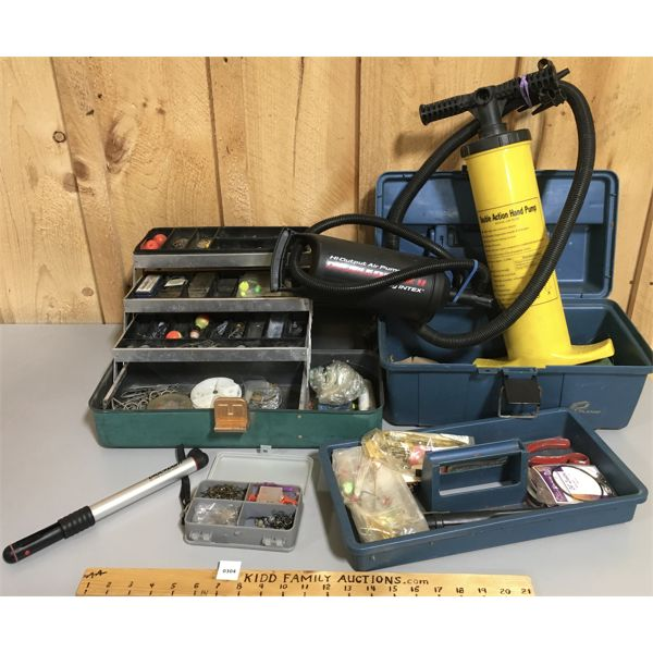 LOT OF 2 - TACKLEBOXES W/ CONTENTS & DOUBLE ACTION HAND PUMP
