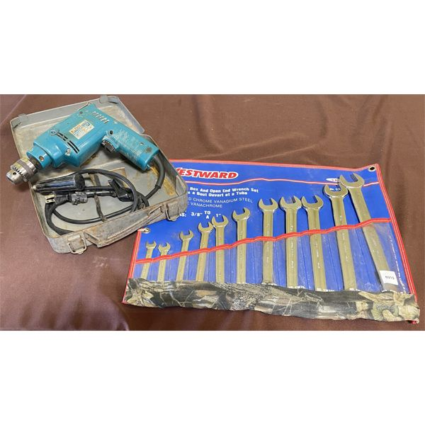 LOT OF 2 - MAKITA HAMMER DRILL & GRAY WRENCH SET - 3/8 TO 1 INCH