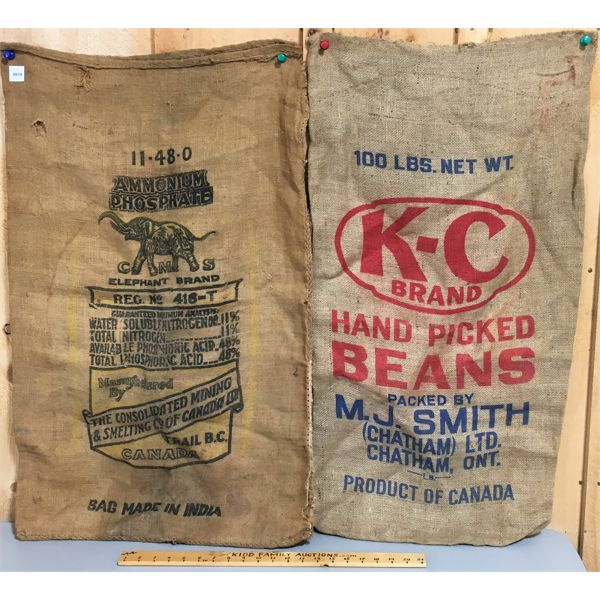 LOT OF 2 - BURLAP SEED BAGS - APPROX 36 INCHES