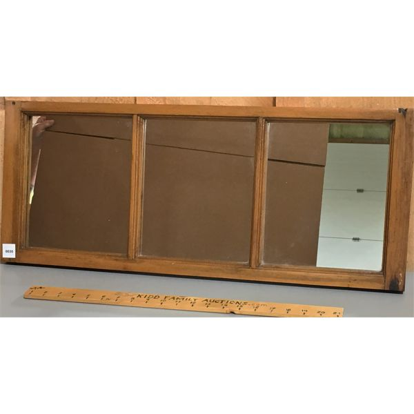 PINE FRAMED WINDOW WITH MIRROR INSERTS - 12 X 29 INCHES