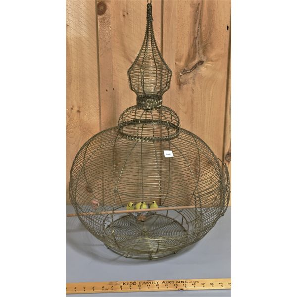 VINTAGE WIRE BIRD CAGE - APPROX 32 INCHES TALL