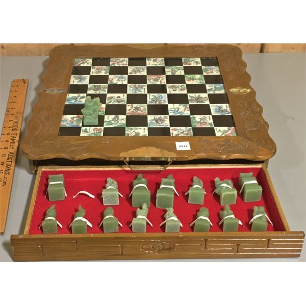 CHESS SET W/ ASIAN MOTIF - 18 INCHES SQUARE