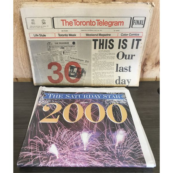 LOT OF 2 NEWSPAPERS- FINAL ISSUE TELEGRAM & YEAR 2000 STAR