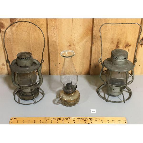 LOT OF 3- OIL LAMP/ LANTERNS