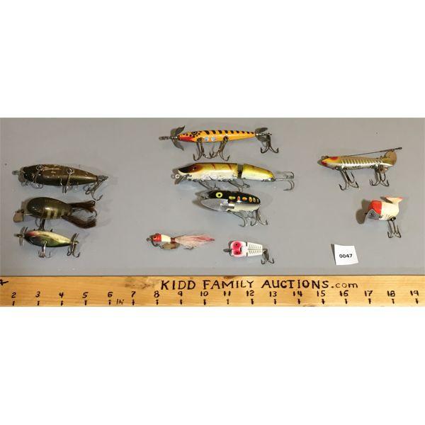 LOT OF 10- FISHING LURES- 5X HEDDON, 3X CREEK CHUB, 2X MISC.