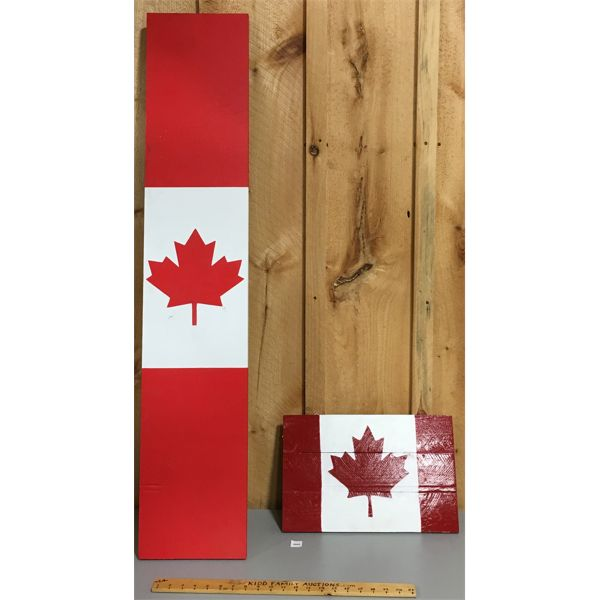 LOT OF 2- PAINTED WOOD CANADIAN FLAG SIGNS
