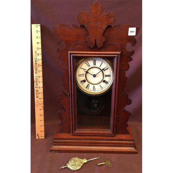 ANTIQUE PENDULUM CLOCK W/ KEY - 23 INCHES