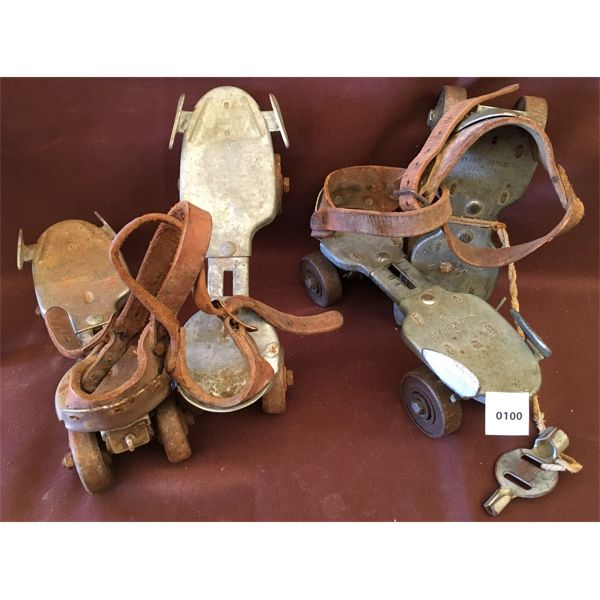 LOT OF 2 - DOMINION AND SWINGLINE ROLLER SKATES W/ KEY