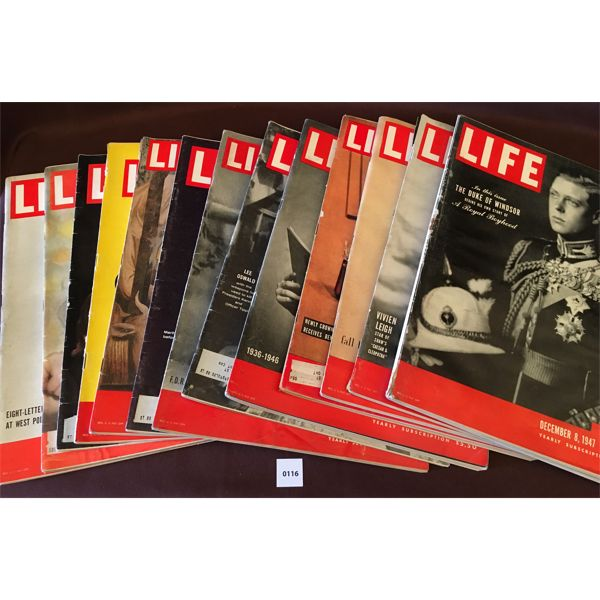 LOT OF 13 - 1940S LIFE MAGAZINES