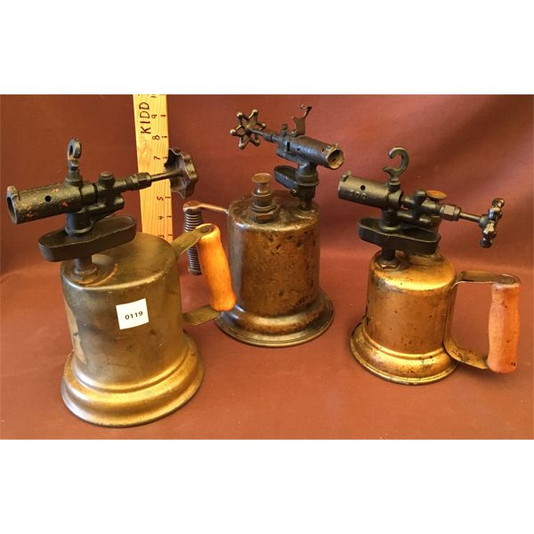 LOT OF 3 - BRASS BLOW TORCHES