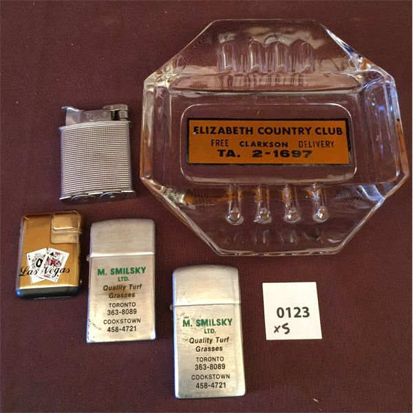 LOT OF 5 - LIGHTERS AND GLASS ASHTRAY