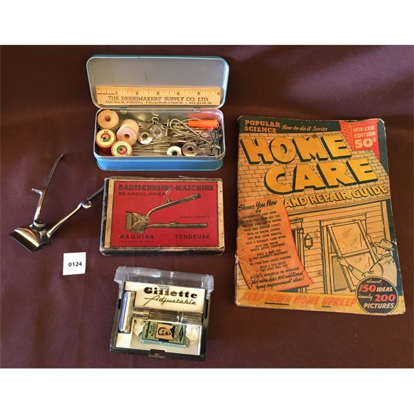 LOT OF 4 - HOME CARE ITEMS - GILLETTE SAFETY RAZOR, CLIPPERS, SEWING ACCESSORIES, ETC