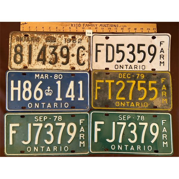 LOT OF 6 ONTARIO LICENSE PLATES