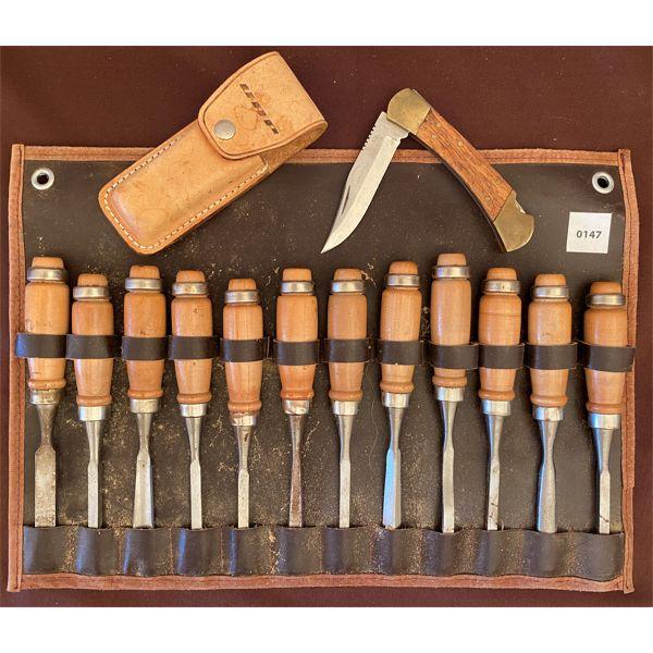 LOT OF 12 CHISELS & FOLDING KNIFE