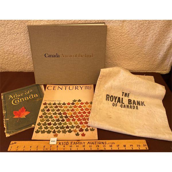 LOT OF 4; 1916 ATLAS OF CANADA, RBC CANVAS BAG, CANADA CENT. BOOK, ETC