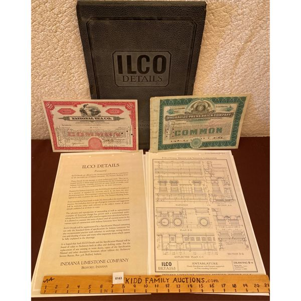 LOT OF 2 COMMON STOCK CERTIFICATES & INDIANA LIMESTONE COMPANY DETAILS BOOK
