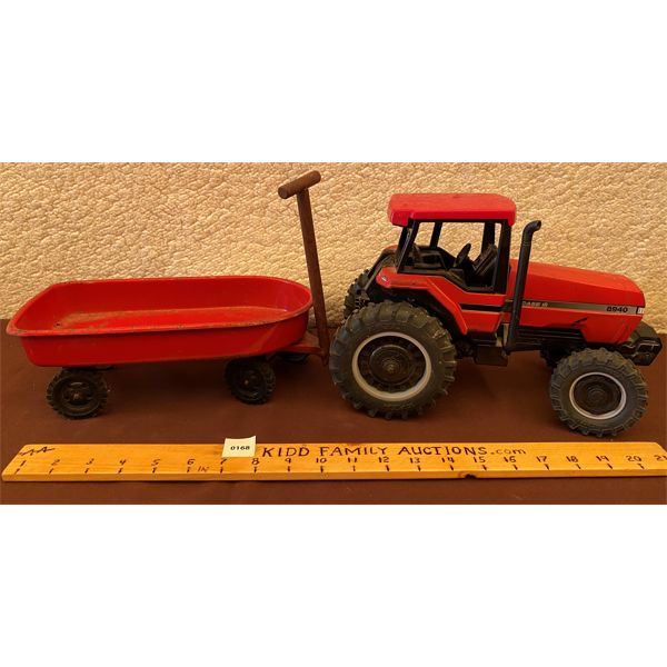 METAL CASE TRACTOR TOY (8940) W/ RED METAL WAGON