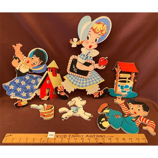 LOT OF 7 - VINTAGE CHILDREN'S WALL ART - PRESSED CARDBOARD