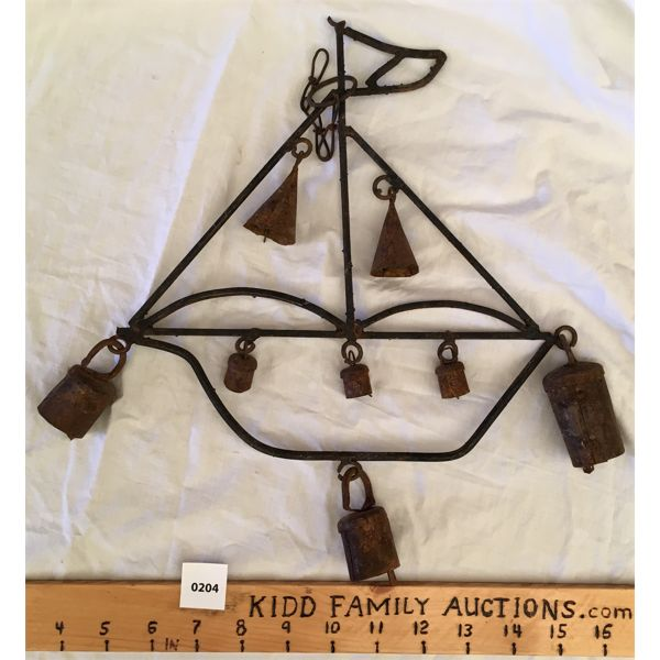 GARDEN DECOR - WROUGHT IRON SAILBOAT WITH WIND CHIME BELLS