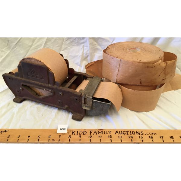 ANTIQUE CAST PACKING TAPE DISPENSER W/ EXTRA ROLLS