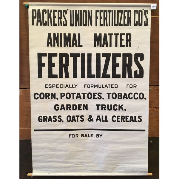 CANVAS AG POSTER - PACKERS UNION FERTILIZER - 24 X 34 INCHES