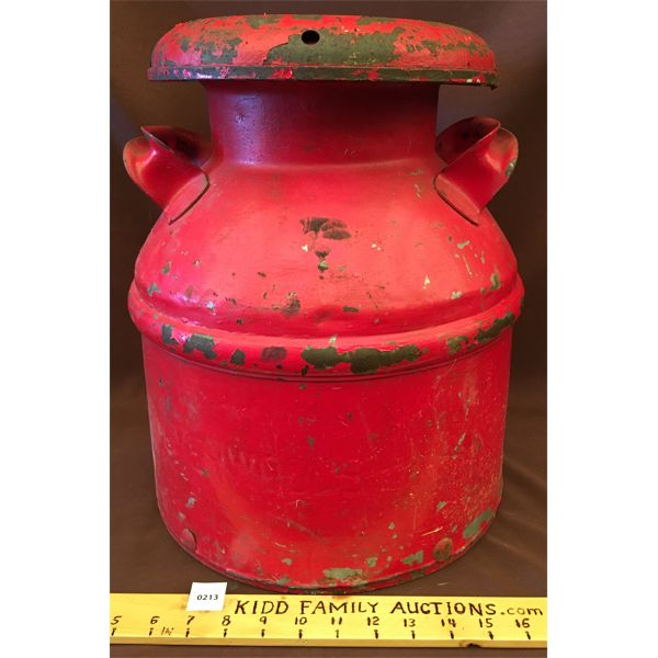 ANTIQUE SILVERWOOD MILK CAN - 16 INCHES