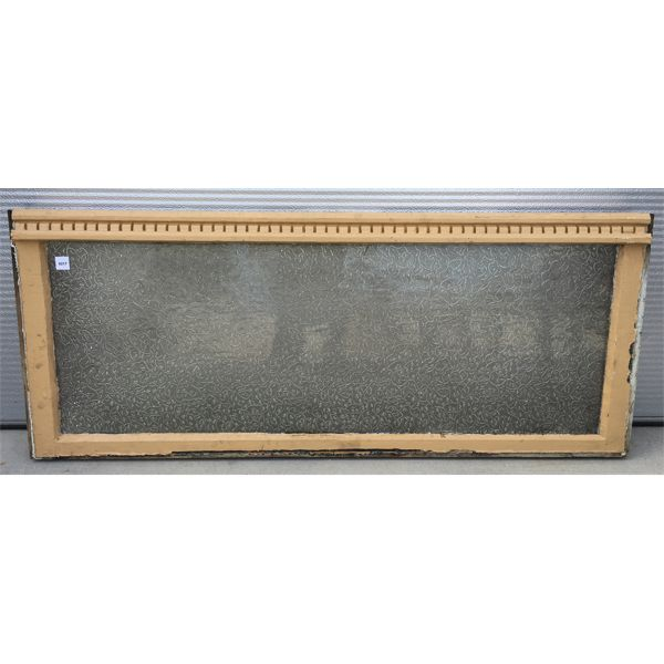 ANTIQUE FROSTED GLASS WINDOW W/ MOLDING - 20 X 48 INCHES