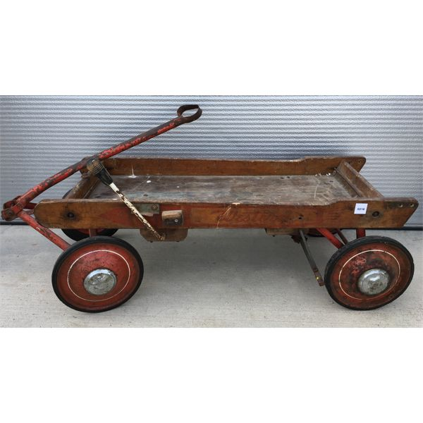 WOODEN CHILDS WAGON WITH HAND BRAKE