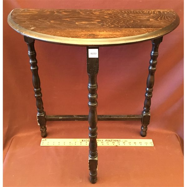 DARK WOOD STAINED ANTIQUE HALF MOON TABLE