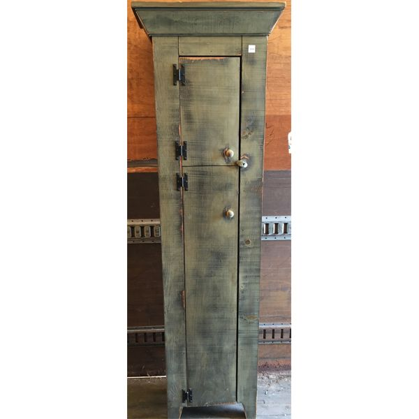 PINE JAM CUPBOARD IN GREEN WASH STAIN - 11 X 18 X 74 INCHES