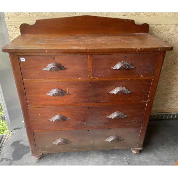 BASSWOOD AND BUTTERNUT CHEST WITH MUSTACHE PULLS - 17.5 X 44 X 45 INCHES