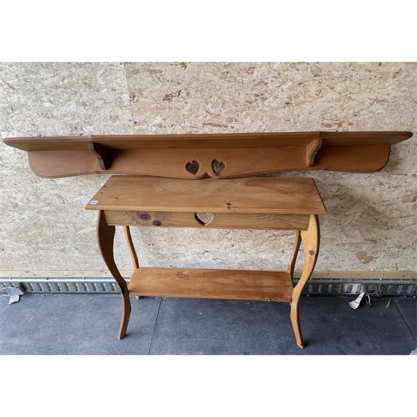 LOT OF 2 - PINE TABLE 11 X 29 X 34 INCHES & 5 FOOT SHELF