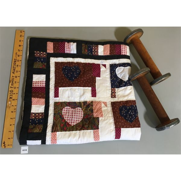 LOT OF 3 - ANTIQUE SPINNING SPOOLS & 36 INCH SQ COW EMBLEM QUILT