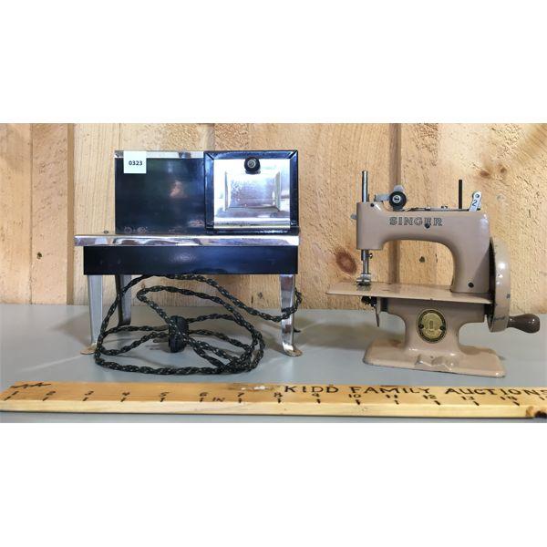 LOT OF 2 - ANTIQUE - MINI STOVE & SINGER SEWING MACHINE