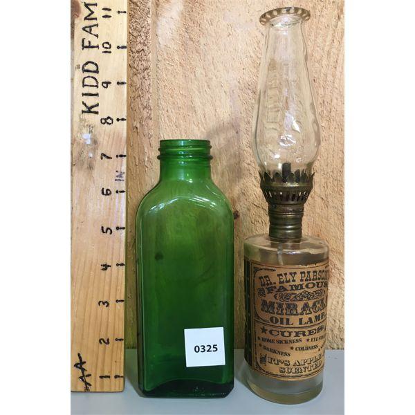 LOT OF 2 - MINI OIL LAMP & FH PFUNDER MEDICINE BOTTLE