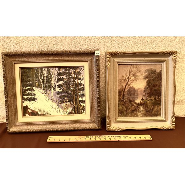 LOT OF 2 - OIL ON BOARD & CANVAS - NATURE SCENES - UNKNOWN ARTISTS