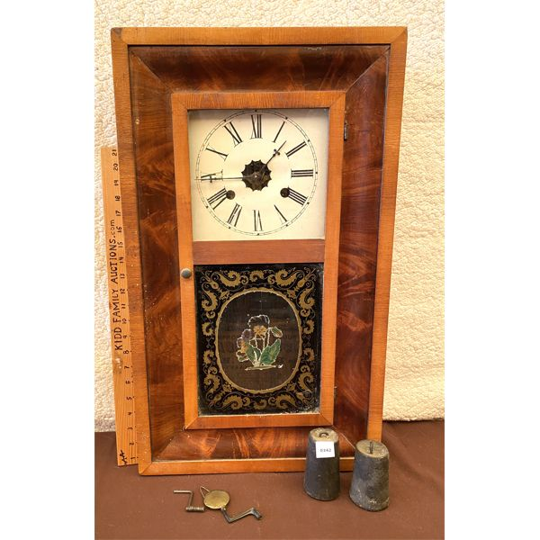 WELCH MFG 30 HOUR ANTIQUE WALL CLOCK W/ WEIGHTS & KEY - 15 X 26 INCHES
