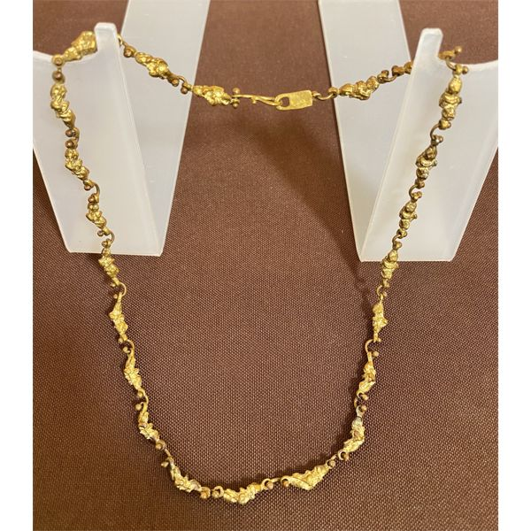 ANNE DICK DESIGNER NECKLACE - GOLD TONE NUGGET - 18 INCHES