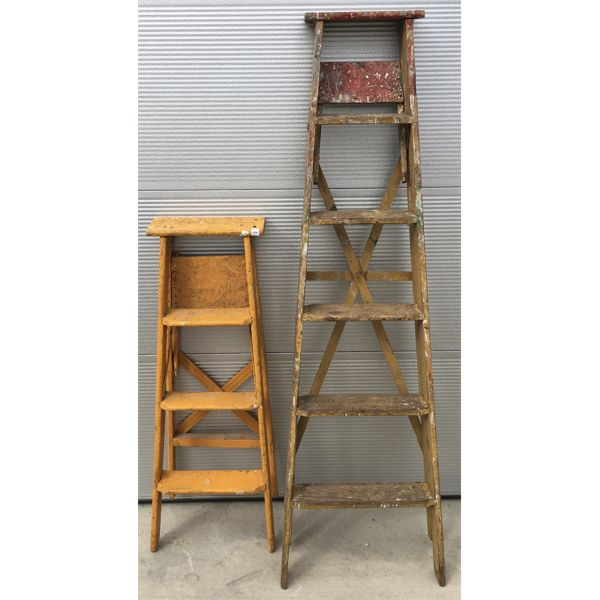 LOT OF 2- WOODEN STEP-LADDERS